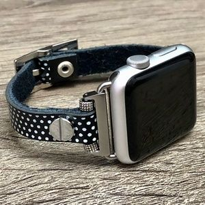 Polka Dots Silver Apple Watch Leather Strap Band